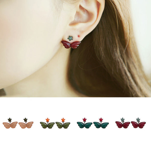 Sweet Star Angel Wings Stud Earrings