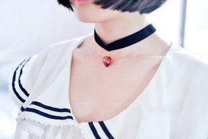 Harajuku Heart Crystal Pendant Neck Strap Necklace