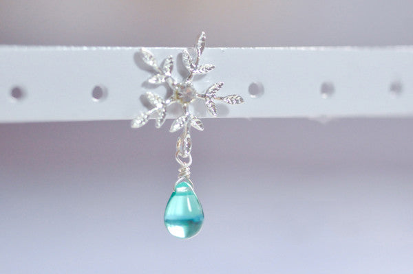 Frozen Snowflake Waterdrop Beads Earrings