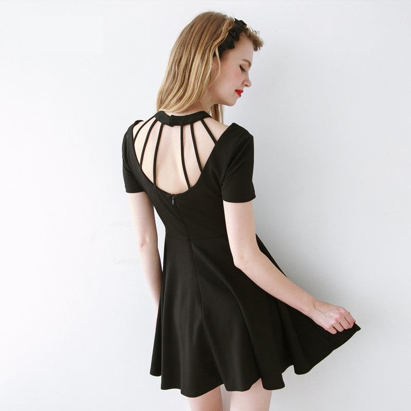 Sexy Slim Backless Bandaged Round Neck A Dress