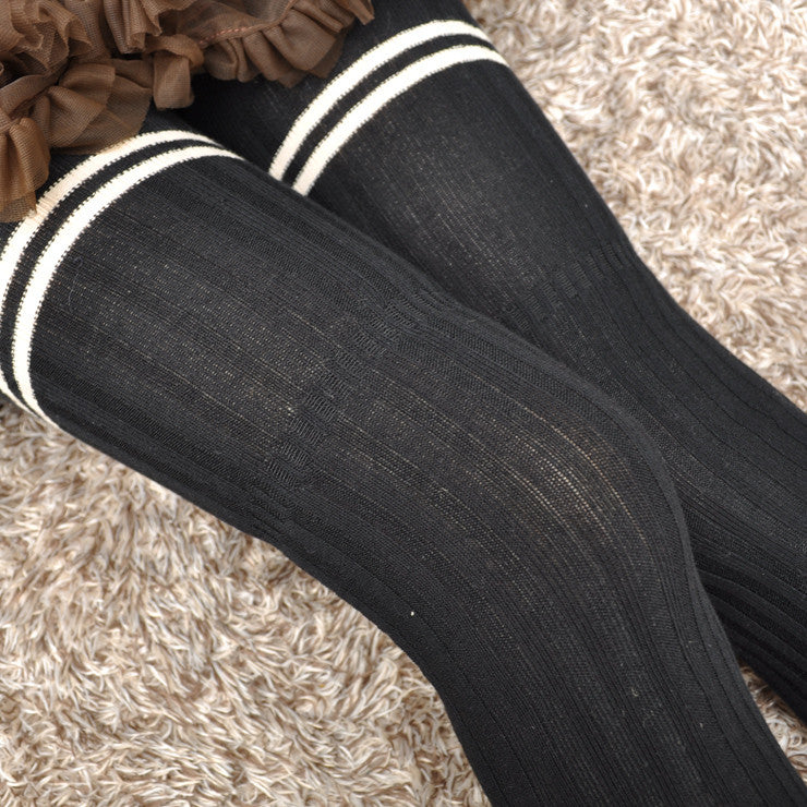 Preppy Striped Thigh Highs Tight