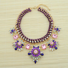 Load image into Gallery viewer, Vintage Crystal Floral Chain Choker Necklace