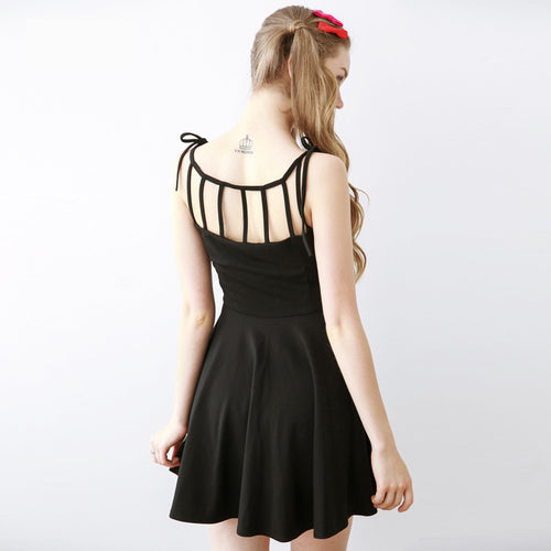 Sexy Black Backless Sleeveless A Dress