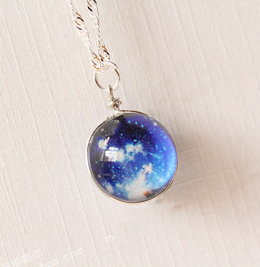 Nebula Galaxy Glass Pendant Necklace