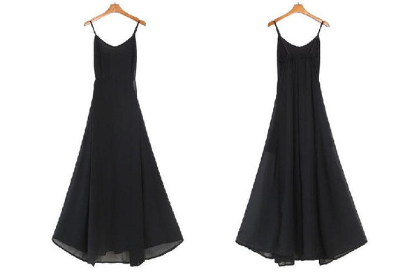 Sexy Chiffon Black V Neck Perspective Long Split Maxi Dress
