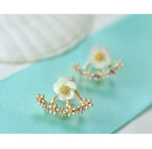 Sweet Flower Back Hanging Stud Earrings