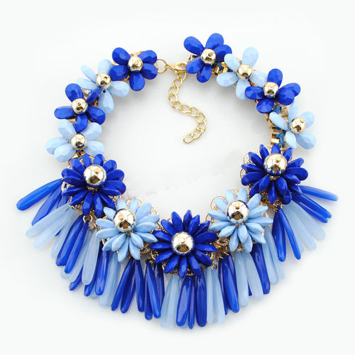 Flowers Tassels Choker Necklace