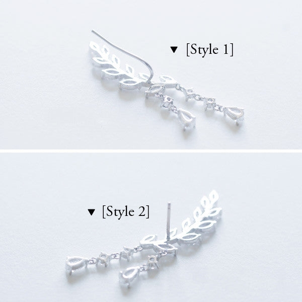 Stylish Zicron Vine Leaf Drop Earrings