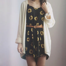 Load image into Gallery viewer, Bohemian V-neck Sunflower Print Jumpersuit Dress