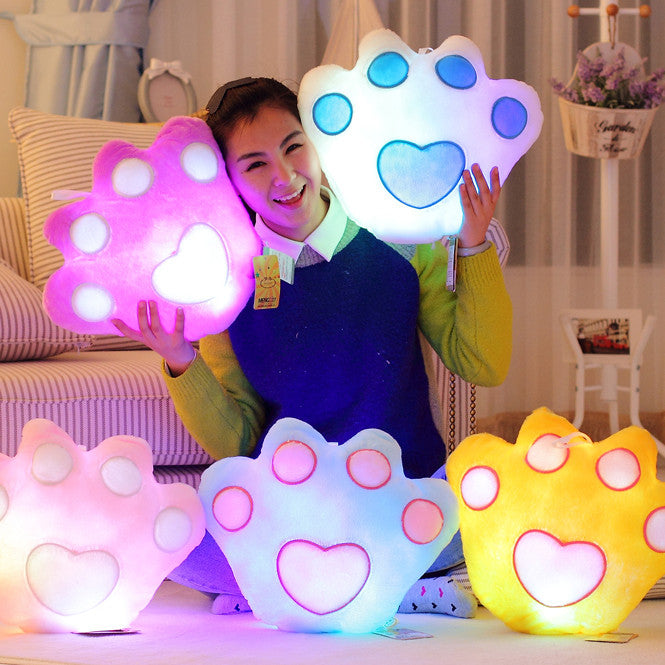 40*35cm Stuffed Dolls LED Light Colorful Bear Paw Pillows