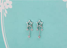 Load image into Gallery viewer, 925 Silver Hollowed Stars Rhinestone dangling Earrings