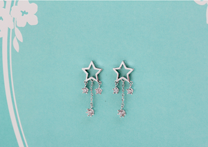 925 Silver Hollowed Stars Rhinestone dangling Earrings
