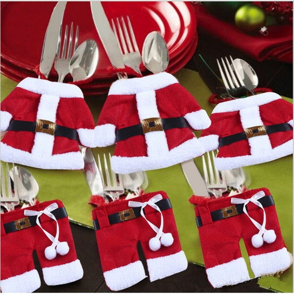 Set of 6 Christmas Santa Claus Suit Silverware Cutlery Holder