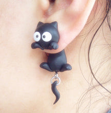 Load image into Gallery viewer, Handmade Two-part Cat Earrings