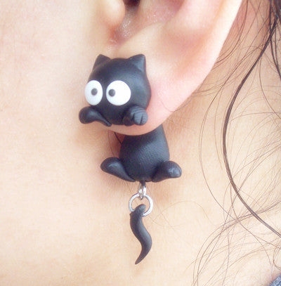 Handmade Two-part Cat Earrings