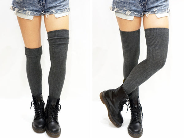 Braided Turnover Over Knee Socks
