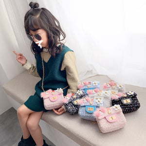 Fashion Plush chain one shoulder small bag children Princess Girl Backpack