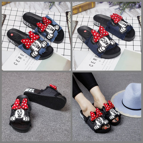 Original new bowknife Mini slippers cloth soft bottom tassel flat with anti-skid shoes exposed toe word drag