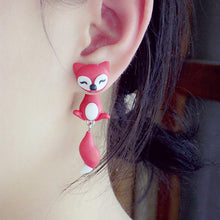 Load image into Gallery viewer, Fashion Handmade Two-part Fox Earrings
