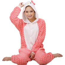 Load image into Gallery viewer, Pink Dots Kitty Cat Pajamas Halloween Costume Cosplay Homewear Lounge Wear