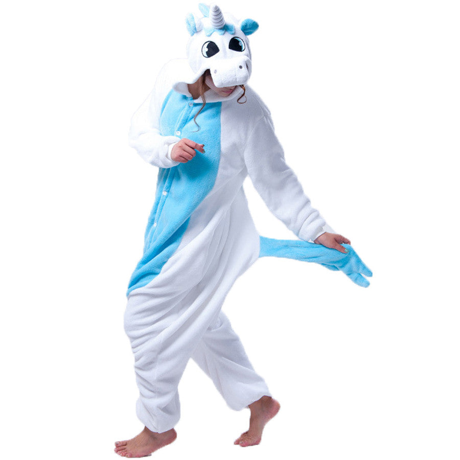Blue Unicorn Pajamas Halloween Costume Cosplay Homewear Lounge Wear