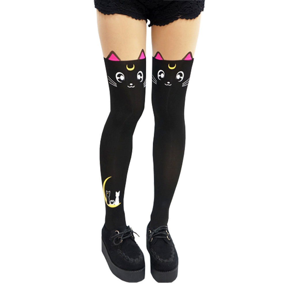 Lovely Sailor moon Luna Cat Thigh High Tights