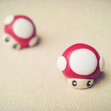 Load image into Gallery viewer, Handmade Mario Mushroom Earrings