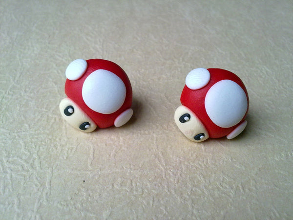 Handmade Mario Mushroom Earrings