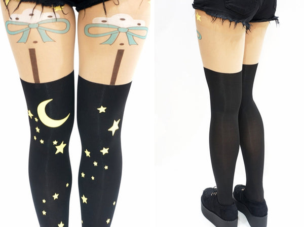 Night Moon Stars Bow Thigh High Tights
