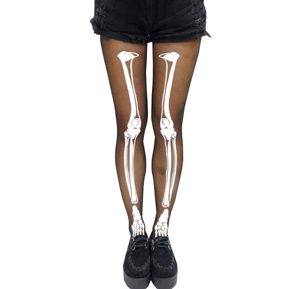 Halloween Skeleton Print Stockings