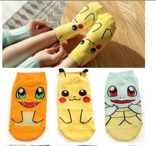 Anime Pokemon Pikachu Nintendo Character Socks Pocket Monsters Women Kid Socks(the size number is for the color style)