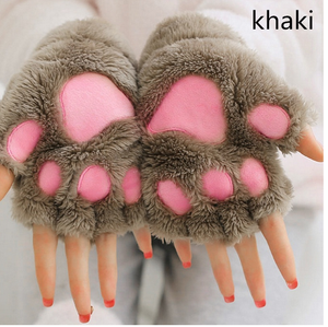 Womens Lovely Cat Claw Paw Plush Glove Gift