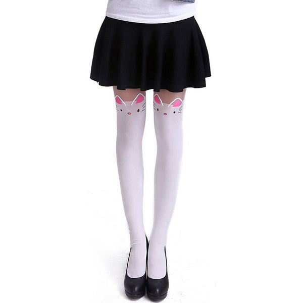 Kawaii White Bow Tails Cat Tights