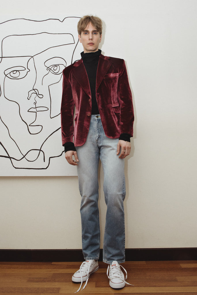 Pete Red Velvet Suit Blazer