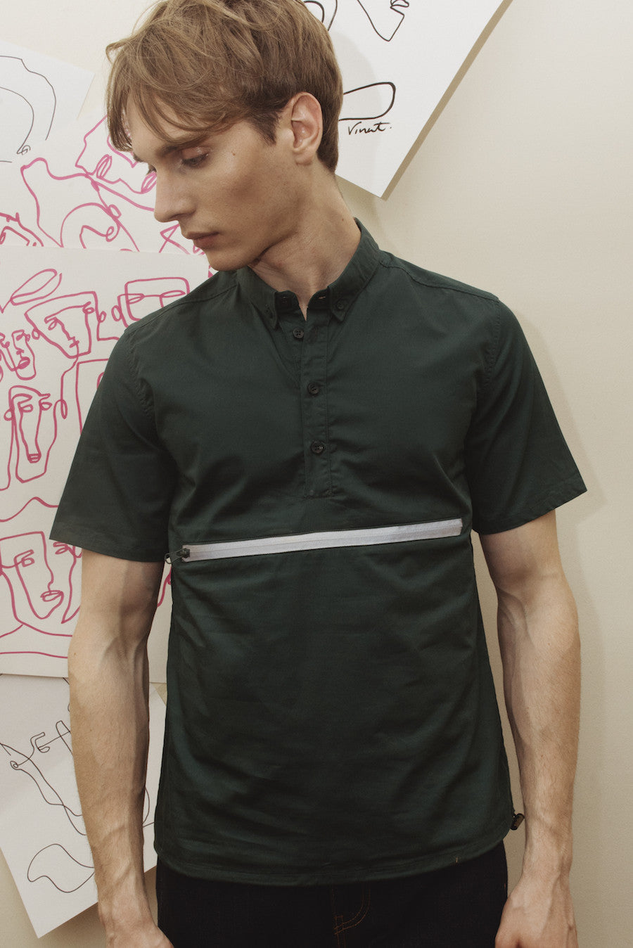 Chace Green Utility Mid Pocket Shirt
