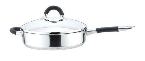 "YBM Stainless Steel 10"" Covered Frying Skillet Pan with Steel Lid - A12665"