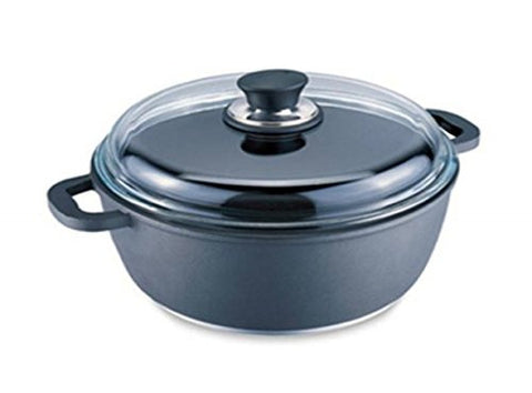 Korkmaz 4 Quart Fine-Cast Aluminum Casserole, Triplex Coating Non-Stick and Bakelite Handle - A1403