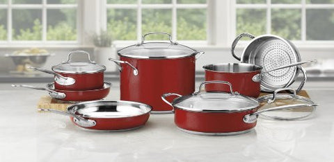 Cuisinart 11-Piece Classic Cookware Set, Red - CSS-11MR