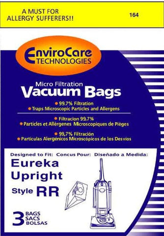 Eureka Style RR Vacuum Bags Microfiltration with Closure, 3 Pack - 164