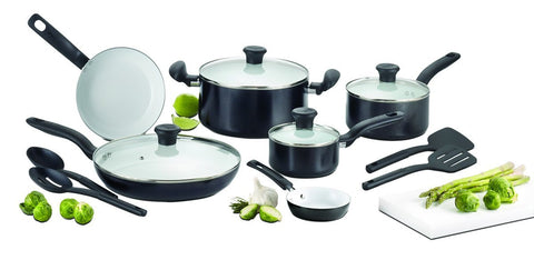 T-fal Initiatives Ceramic Nonstick Cookware Set, 14-Piece, Black - C921SE