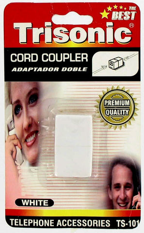 Trisonic Telephone Cord Coupler, White - TS101