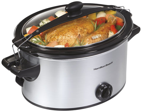 Hamilton Beach 5 Quart Stay or Go Slow Cooker, Silver - 33269