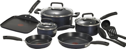 T-fal C109SC Signature Nonstick Expert Thermo-Spot Heat Indicator Cookware Set, 12-Piece, Blue