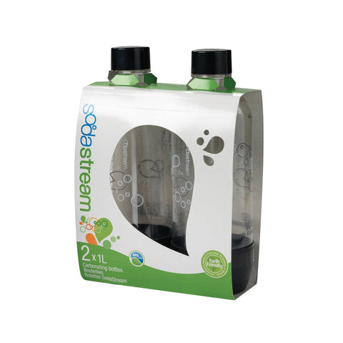 Sodastream 1 Liter Carbonating Bottles- Black (Twin Pack) - 1042220011