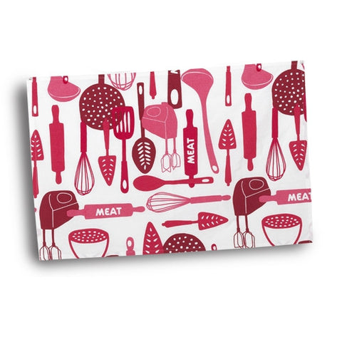 The Kosher Cook 1-Piece 100-Percent Cotton Tea Towel for Meat, Full, Red - KCKH4030M
