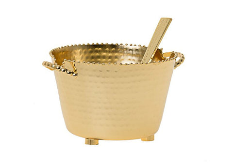 Large Gold Beaded Dip Bowl With Spoon MDLC72G
