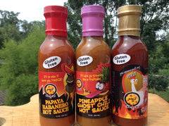 Gluten Free Sauce Collection 12 oz. BBQ, PAPAYA HABANERO & PINAPPLE GHOST