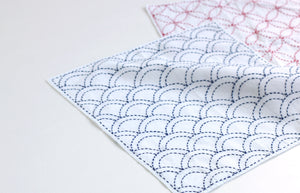 Daruma #11 #207 Yume-Fukin Sashiko Sampler Hemp Leaves and Fans (White or Indigo)