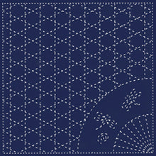 Load image into Gallery viewer, Daruma #6 #205 Yume-Fukin Sashiko Sampler  Weave, Fan and Dragonflies (White or Indigo)