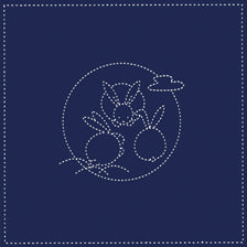 Daruma #112 #208 Yume-Fukin Sashiko Sampler - Rabbits and the Moon (White or Indigo)